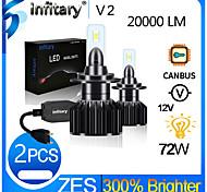 abordables -Infitary 2pcs h1 h3 h7 h11 9005 9006 3570 puce led phare de voiture 72w 6500k auto led voiture lumière