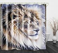 abordables -peinture lion impression tissu imperméable rideau de douche pour salle de bain décor à la maison rideaux de baignoire couverts doublure comprend avec crochets
