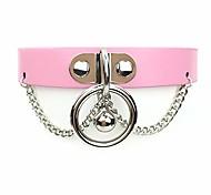 economico -collana girocollo con campana o anello fatta a mano colletto in ecopelle con catena gotica per donna e uomo (d)