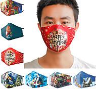 abordables -5 pièces masque de coton imprimé en 3D de Noël hiver chaud et anti-poussière mode respirant et lavable
