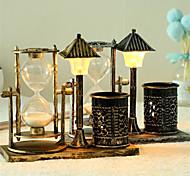 abordables -Creative antique sable lampadaire porte-stylo sablier petites décorations de lumière de nuit avec des lumières