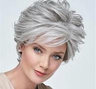 abordables -Perruque Synthétique Bouclé Coupe Lutin Perruque Court Grise Cheveux Synthétiques Femme Doux Confortable Gris foncé
