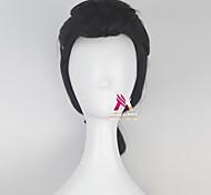 abordables -Perruque Synthétique Gastonl Bouclé Avec queue de cheval Perruque Court Noir Cheveux Synthétiques 18 pouce Homme Frais Confortable Noir