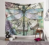 abordables -Tapisserie murale art déco couverture rideau suspendu maison chambre salon dortoir décoration polyester fibre nature morte peint libellule horloge