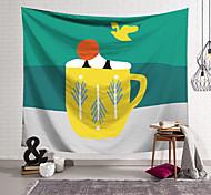 abordables -Tapisserie murale art décor couverture rideau suspendu maison chambre salon décoration polyester mignon tasse vue
