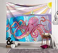 abordables -tapisserie murale art décor couverture rideau suspendu maison chambre salon décoration polyester fibre animal peint poulpe géant petit voilier lanting conception