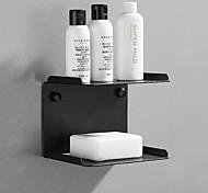 abordables -porte-savon multifonction et étagère de salle de bain contemporain en acier inoxydable mural noir et argent 1 pc