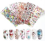 abordables -3 Set Japonais Nouveau Nail Art Série De Noël Papier De Transfert Flocon De Neige Bonhomme De Neige Chapeau De Noël Nail Stickers 10 Feuilles / Ensemble