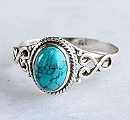 economico -anello placcato in argento sterling 925 da donna genuino taglio ovale boemia naturale gioielli turchesi proposta di compleanno anelli a fascia per fidanzamento vuoto taglia 6-10