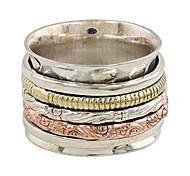 economico -.925 anello di meditazione spinner in ottone rame rame argento 'cinque delizie'