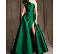 abordables -Trapèze Minimaliste Sexy Fiançailles robe ceremonie Robe Une Epaule Sans Manches Longueur Sol Satin avec Noeud(s) Ruché Fendue 2021