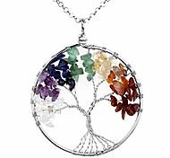 abordables -cristal quartz collier arbre de vie 7 chakras pendentif de pierres précieuses