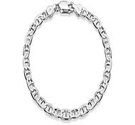 economico -Bracciale a catena da marinaio piatto in argento con taglio a diamante da 5,3 mm, 8 pollici + panno per gioielli& sacchetto