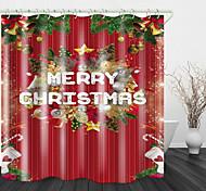 abordables -Branche de pin de noël boules colorées imprimer rideau de douche en tissu imperméable pour salle de bain décor à la maison rideaux de baignoire couverts doublure comprend avec crochets