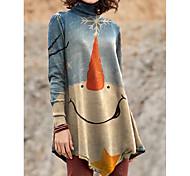 economico -Per donna Abito a T shirt Mini abito corto Azzurro Manica lunga Con stampe Monocolore Collage Con stampe Autunno Inverno A collo alto Casuale Natale 2021 S M L XL XXL 3XL 4XL 5XL