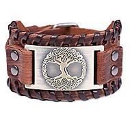 abordables -bracelet viking arbre de vie bracelet en cuir large marron nordique talisman pour homme