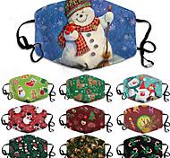 economico -Maschera natalizia da 5 pezzi unisex con maschera da stampa in cotone composito maschera da vacanza lavabile e traspirante
