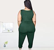 abordables -barboteuse slim noir bleu femme grande taille denim de couleur unie