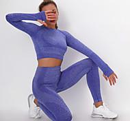 economico -Per donna 2 pezzi Tuta da yoga Senza cuciture Foro per pollice Di tendenza Nero Viola Rosa Fitness Allenamento in palestra Corsa Vita alta Ghette Top corto Manica lunga Sport Abbigliamento sportivo
