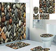 abordables -doublure de rideau de baignoire imprimée de belles petites pierres recouvertes de rideau de douche en tissu imperméable pour la décoration de la maison de salle de bain avec tapis de sol à crochet et