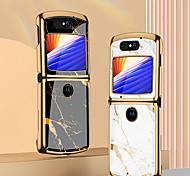 abordables -téléphone Coque Pour Motorola Coque Arriere Razr 5G Antichoc Plaqué Lignes / Vagues Formes Géométriques Verre Trempé Métal