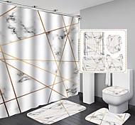 abordables -4 pcs ensemble de rideau de douche en polyester contient avec rideau de douche tapis de bain antidérapant couvercle de toilette et tapis de salle de bain étanche avec crochets 3D imprimé numérique doux et respirant