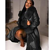 economico -Per donna Tinta unita Colletto di pelliccia Autunno inverno Giacche di pelle Lungo Per uscire Manica lunga Cuoio sintetico Cappotto Top Blu