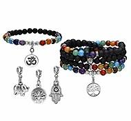 economico -7 chakra reiki healing crystal bead charm bracciale collana set pietra lavica aromaterapia diffusore di olio essenziale bracciali elasticizzati collane con 5 ciondoli sostituibili