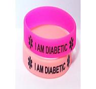 abordables -bracelet diabétique en silicone, lot de 2, régulier rose clair et chaud (adulte)