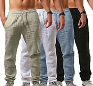 abordables -Homme Poches latérales Cordon Pantalons / Surpantalons Respirable Evacuation de l'humidité Abricot Blanche Noir Lin Décontracté Des sports Tenues de Sport Ample