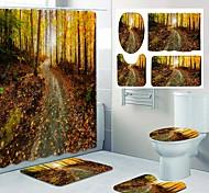 abordables -impression de motif de bois d'automne doré rideau de douche de salle de bain conception de quatre pièces de toilettes de loisirs