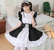 abordables -Lolita Princesse robe de vacances Robe Bal Masqué Femme Japonais Costumes de Cosplay Noir Dentelle Bloc de Couleur Manches Courtes / Casque / Tablier