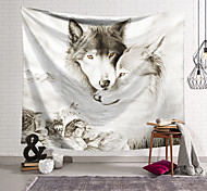 abordables -Tapisserie murale art décor couverture rideau suspendu maison chambre salon décoration polyester fibre animal blanc loup lanting conception