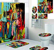 abordables -Doublure de rideau de baignoire imprimée vue arrière abstraite recouverte de rideau de douche en tissu imperméable pour la décoration de la maison de salle de bain avec tapis de sol à crochet et tapis