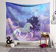 abordables -Tapisserie murale art décor couverture rideau suspendu maison chambre salon décoration polyester fibre animal blanc cheval arbre lanting conception