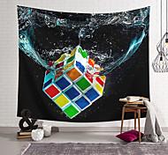 abordables -Tapisserie murale art décor couverture rideau suspendu maison chambre salon décoration polyester fibre couleur rubik's cube en conception de lanterne d'eau