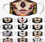 abordables -5 pcs coupe-vent respirant masque neutre Halloween masque sucre crâne impression demi-masque facial hommes et femmes masque de vie