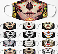 economico -5 pezzi maschera traspirante antivento maschera di halloween neutra stampa teschio di zucchero mezza maschera maschera per uomini e donne