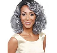 abordables -Perruque Synthétique Bouclé Coupe Asymétrique Perruque Longueur moyenne Gris argenté Cheveux Synthétiques Femme Doux Classique Confortable Argent
