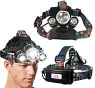 abordables -phare LED, phare super lumineux zoomable 5000 lumen 3 LED 4 modes phare de travail, 18650 lampes de poche pour camping randonnée pêche en cours d'exécution