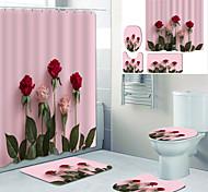 abordables -Doublure de rideau de baignoire imprimée rose romance recouverte de rideau de douche en tissu imperméable pour la décoration de la maison de salle de bain avec tapis de sol à crochet et tapis de