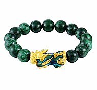 abordables -bracelet pi xiu / pi yao feng shui bracelet de bijoux bonne chance, bracelet de richesse en obsidienne, mantra amulette alliage de perles bracelets élastiques réglables pour femmes hommes attirent