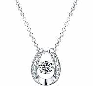 economico -Collana con ciondolo in argento sterling 925 che balla diamante pietra cubic zirconia regalo da donna