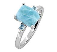 economico -2.87 cts. anello in argento sterling 925 massiccio con topazio blu svizzero larimar