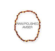 abordables -collier - collier d'ambre baroque en mélange poli / brut | collier d'ambre véritable certifié | couleur cognac (12,5 pouces)