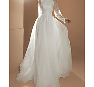 abordables -Trapèze Robes de mariée Bijoux Traîne Tribunal Tulle Manches Longues Simple avec 2021