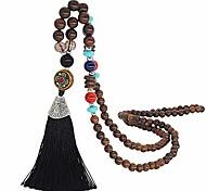 abordables -Colliers à pompon longs en bois faits à la main de style bohème pour femmes