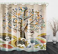 abordables -Beaux arbres colorés imprimer rideau de douche en tissu imperméable pour salle de bain décor à la maison rideaux de baignoire couverts doublure comprend avec crochets