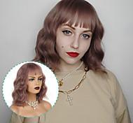 abordables -Perruques ondulées courtes de 12 pouces pour femmes perruques ondulées synthétiques afro-américaines avec frange coiffures Lolita Dairly Cosplay