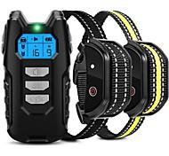 abordables -Entrainement de chien Dispositif anti aboiement Collier de choc pour chiens avec télécommande Télécommandé Ajustable Electronique Collier de choc pour chien rechargeable à 2 récepteurs 3 modes de